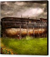 Boat - The Construction Of Noah's Ark Canvas Print by Mike Savad