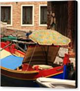 Boat With Umbrella On Canal In Venice Canvas Print