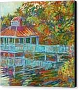 Boathouse At Mountain Lake Canvas Print