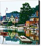 Boathouse Row In Philly Canvas Print by Bill Cannon