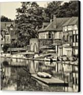 Boathouse Row In Sepia Canvas Print by Bill Cannon