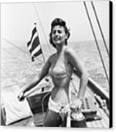Boating Bather Canvas Print by Baron