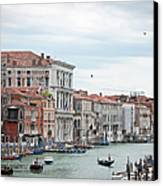 Boats And Gondolas In Grand Canal Canvas Print