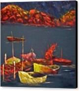 Boats At Nightfall Canvas Print