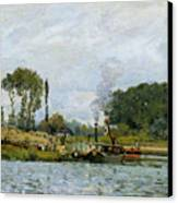 Boats At The Lock At Bougival Canvas Print