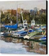 Boats In Montrose Harbor Canvas Print