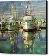 Boats In The Harbor Canvas Print by Ron Hoggard