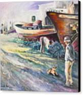 Boats Yard In Villajoyosa Spain Canvas Print