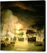 Bombardment Of Algiers Canvas Print by Thomas Luny