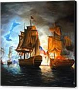 Bonhomme Richard Engaging The Serapis In Battle Canvas Print