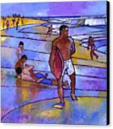 Boogieboarding At Sandy's Canvas Print by Douglas Simonson