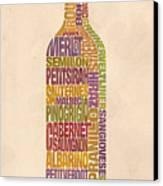 Bordeaux Wine Word Bottle Canvas Print by Mitch Frey