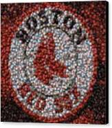 Boston Red Sox Bottle Cap Mosaic Canvas Print