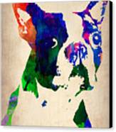 Boston Terrier Watercolor Canvas Print by Naxart Studio