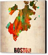 Boston Watercolor Map  Canvas Print