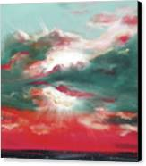 Bound Of Glory 2 - Square Sunset Painting Canvas Print by Gina De Gorna