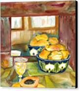 Bowl Of Papayas Canvas Print