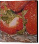 Bowl Of Strawberries Canvas Print by Crispin  Delgado