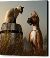 Boxer And Siamese Canvas Print
