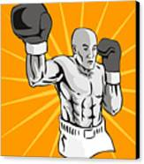 Boxer Boxing Knockout Punch Retro Canvas Print by Aloysius Patrimonio