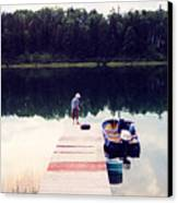 Boy On The Dock Ae Canvas Print