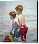 Boys On The Beach Canvas Print by Lamarr Kramer