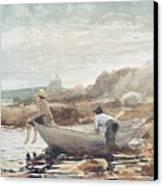 Boys On The Beach Canvas Print by Winslow Homer