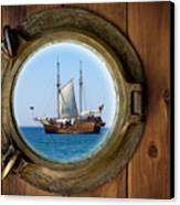 Brass Porthole Canvas Print by Carlos Caetano