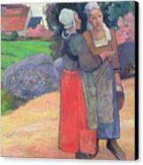 Breton Peasants Canvas Print by Paul Gauguin