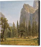 Bridal Veil Falls Yosemite Valley California Canvas Print by Albert Bierstadt