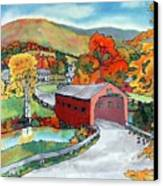 Bridge At The Green Canvas Print by Linda Marcille
