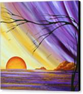 Brilliant Purple Golden Yellow Huge Abstract Surreal Tree Ocean Painting Royal Sunset By Madart Canvas Print
