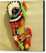 Broad Faced Kachina Canvas Print by Russell Ellingsworth
