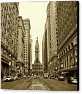 Broad Street Facing Philadelphia City Hall In Sepia Canvas Print by Bill Cannon