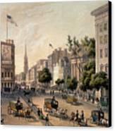 Broadway In The Nineteenth Century Canvas Print by Augustus Kollner