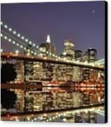 Brooklyn Bridge At Night Canvas Print by Sean Pavone