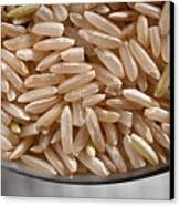 Brown Rice In Bowl Canvas Print by Steve Gadomski