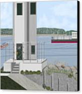 Browns Point Lighthouse On Commencement Bay Canvas Print