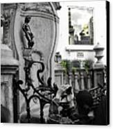 Bruxelles In The Street The Boy Canvas Print by Yury Bashkin