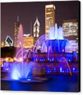 Buckingham Fountain At Night With Chicago Skyline Canvas Print by Paul Velgos