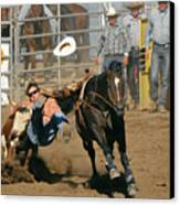 Bulldogging At The Rodeo Canvas Print