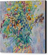 Bunch Of Wild Flowers In A Vase Canvas Print