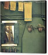 Burano - Green House Canvas Print by Joana Kruse