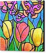 Butterflies In The Tulip Garden Canvas Print