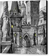 Bw Prague Charles Bridge 02 Canvas Print by Yuriy  Shevchuk