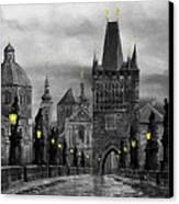 Bw Prague Charles Bridge 04 Canvas Print