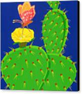 Cactus And Butterfly Canvas Print