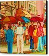 Cafe Crowds Canvas Print