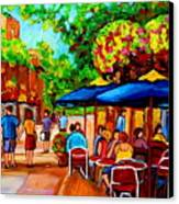Cafe On Prince Arthur  In Montreal  Canvas Print