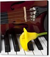 Calla Lily And Violin On Piano Canvas Print